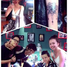 Photo collage of happy customers posing with Helen with new tattoos